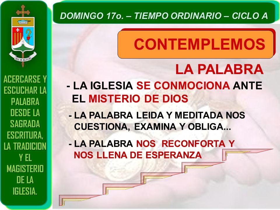 LA PALABRA CONTEMPLEMOS - LA IGLESIA SE CONMOCIONA ANTE EL MISTERIO DE DIOS - LA PALABRA LEIDA Y MEDITADA NOS CUESTIONA, EXAMINA Y OBLIGA... - LA PALA