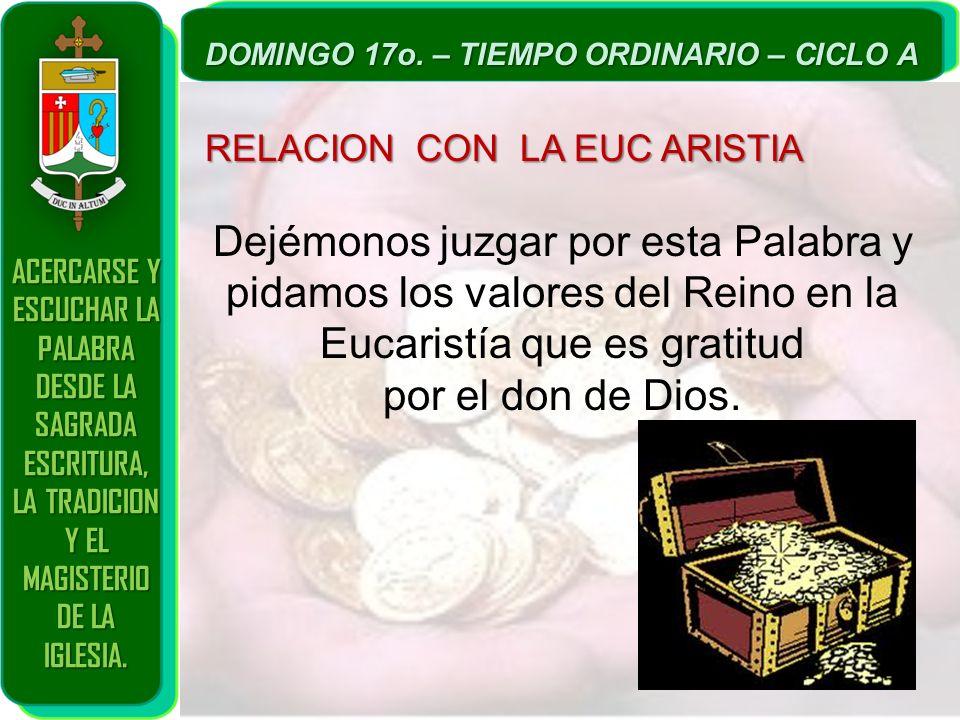 ACERCARSE Y ESCUCHAR LA PALABRA DESDE LA SAGRADA ESCRITURA, LA TRADICION Y EL MAGISTERIO DE LA IGLESIA. DOMINGO 17o. – TIEMPO ORDINARIO – CICLO A RELA