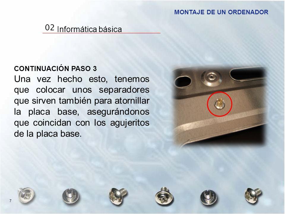CONTINUACIÓN PASO 3 Una vez hecho esto, tenemos que colocar unos separadores que sirven también para atornillar la placa base, asegurándonos que coinc