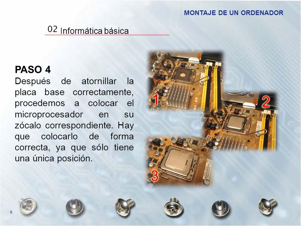 PASO 4 Después de atornillar la placa base correctamente, procedemos a colocar el microprocesador en su zócalo correspondiente. Hay que colocarlo de f