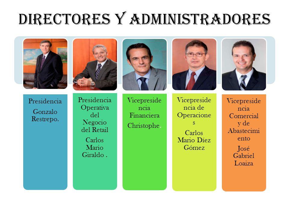 Presidencia Gonzalo Restrepo. Presidencia Operativa del Negocio del Retail Carlos Mario Giraldo. Vicepreside ncia Financiera Christophe. Vicepreside n