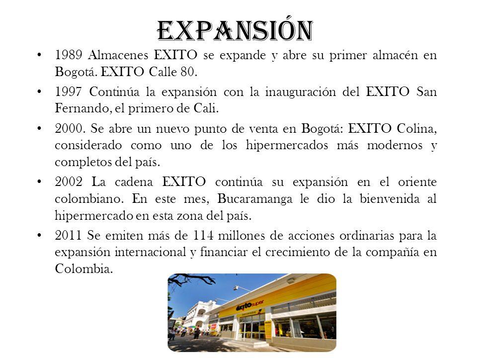 Expansión 1989 Almacenes EXITO se expande y abre su primer almacén en Bogotá. EXITO Calle 80. 1997 Continúa la expansión con la inauguración del EXITO