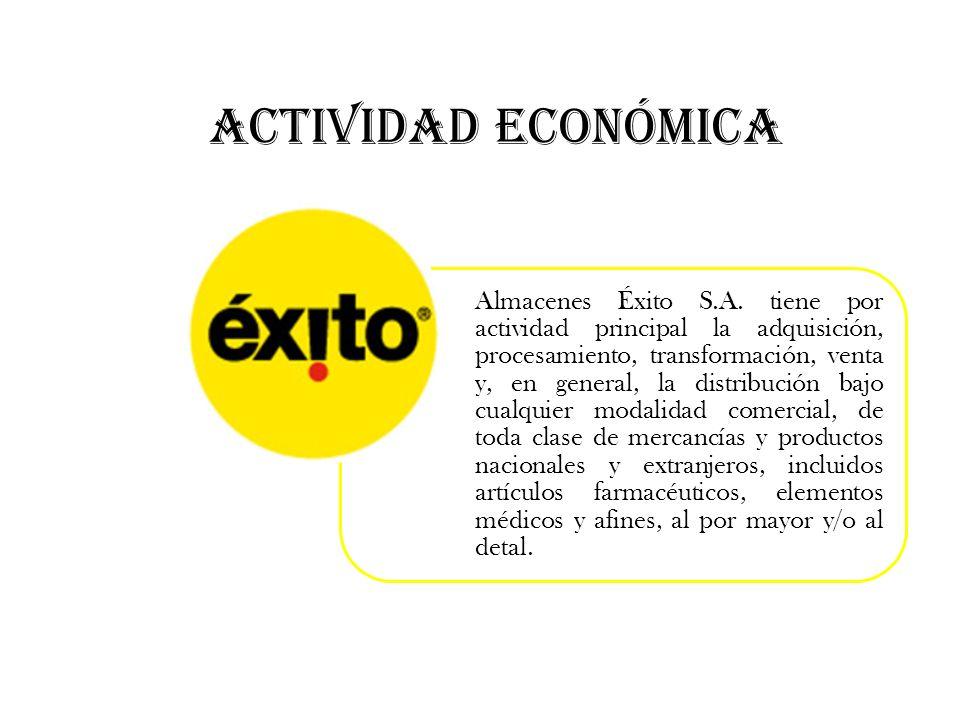 ACTIVIDAD ECONÓMICA Almacenes Éxito S.A. tiene por actividad principal la adquisición, procesamiento, transformación, venta y, en general, la distribu