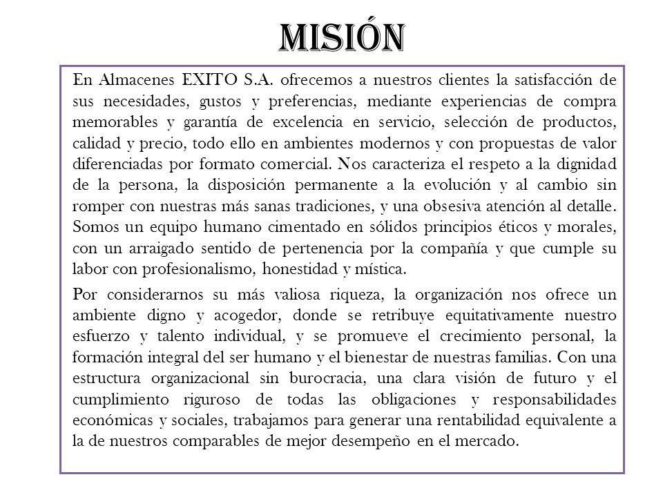 VISIÓN En el año 2015 cautivamos, por encima de nuestra competencia, la lealtad de los consumidores colombianos, la preferencia de los proveedores y el orgullo de nuestros empleados y accionistas .