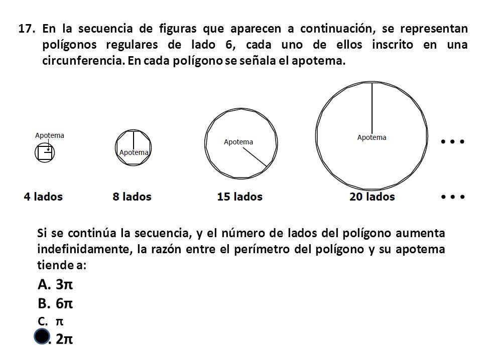 17.En la secuencia de figuras que aparecen a continuación, se representan polígonos regulares de lado 6, cada uno de ellos inscrito en una circunferencia.