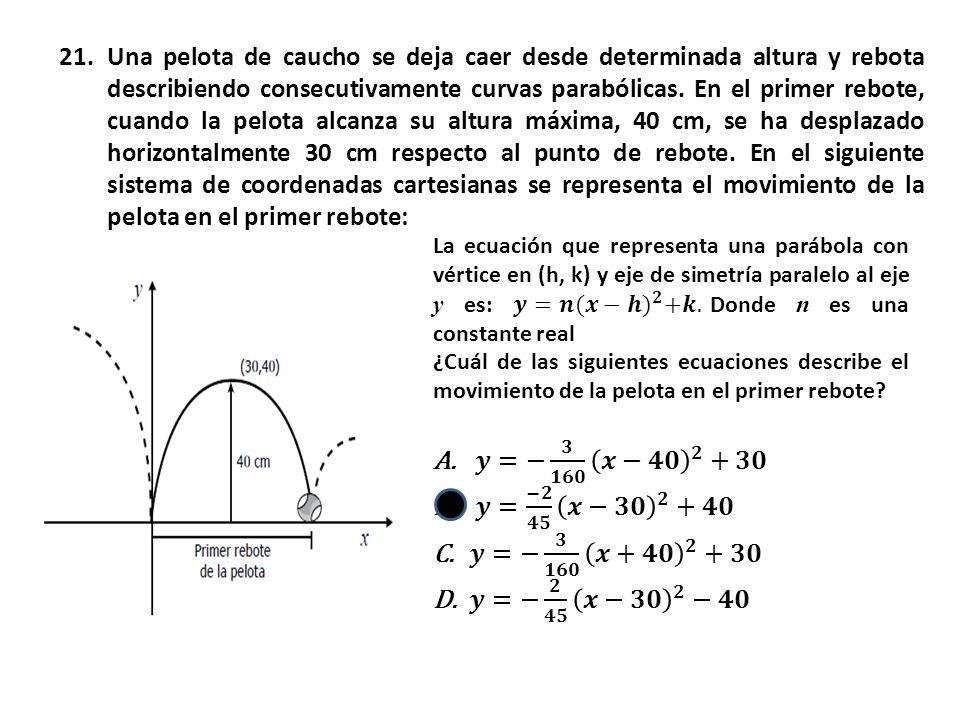 21.Una pelota de caucho se deja caer desde determinada altura y rebota describiendo consecutivamente curvas parabólicas.