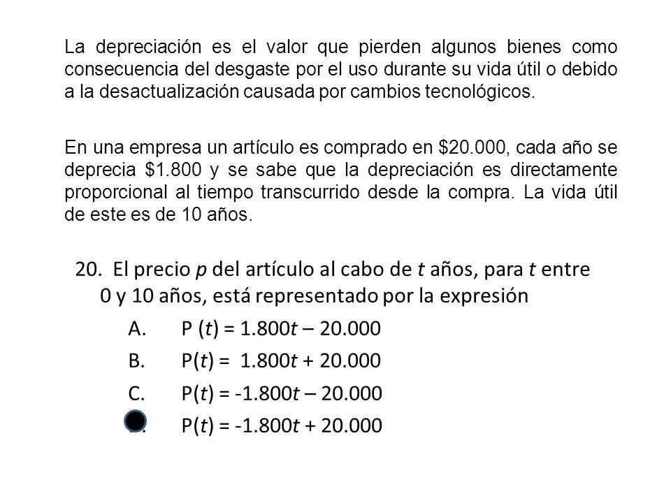 20. El precio p del artículo al cabo de t años, para t entre 0 y 10 años, está representado por la expresión A.P (t) = 1.800t – 20.000 B.P(t) = 1.800t