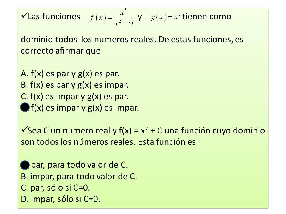 Las funciones y tienen como dominio todos los números reales.