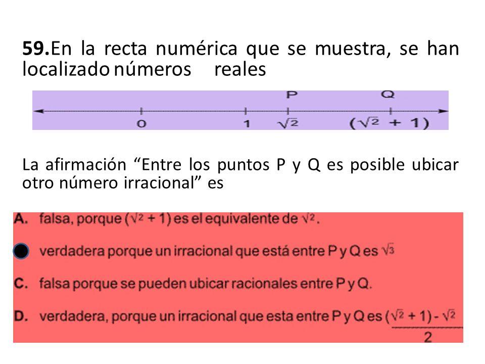 59.En la recta numérica que se muestra, se han localizado números reales La afirmación Entre los puntos P y Q es posible ubicar otro número irracional es