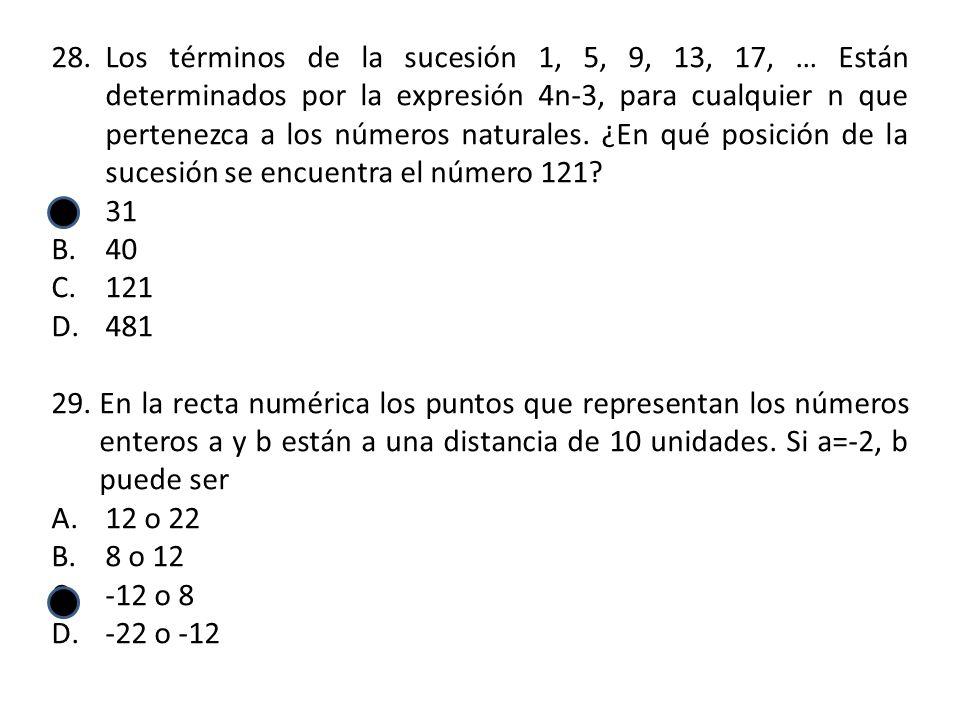 28.Los términos de la sucesión 1, 5, 9, 13, 17, … Están determinados por la expresión 4n-3, para cualquier n que pertenezca a los números naturales.