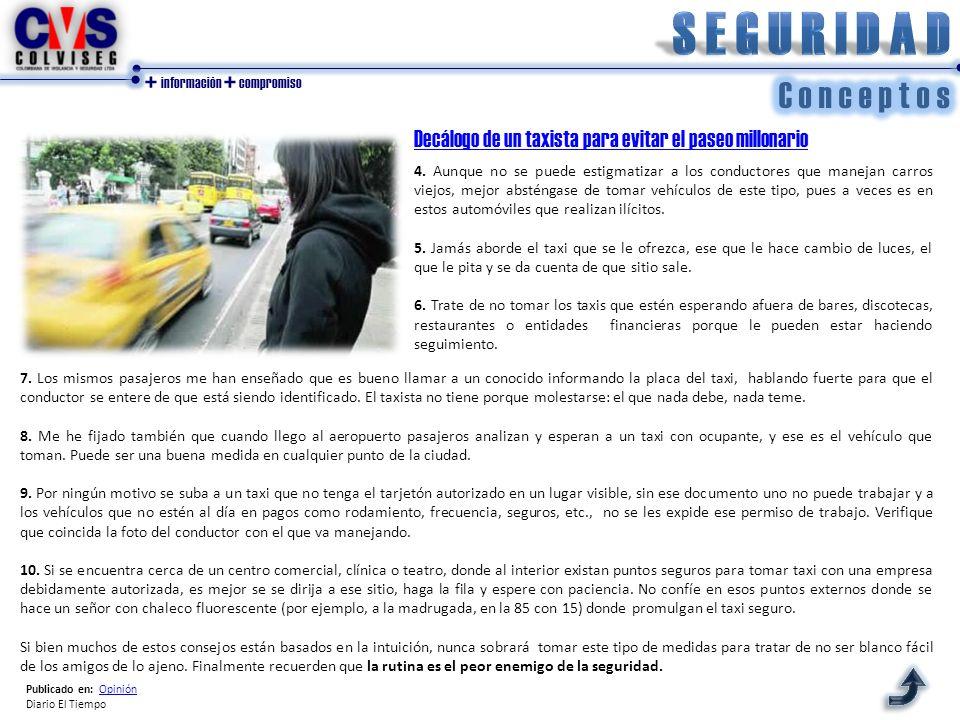 + información + compromiso Decálogo de un taxista para evitar el paseo millonario 4. Aunque no se puede estigmatizar a los conductores que manejan car