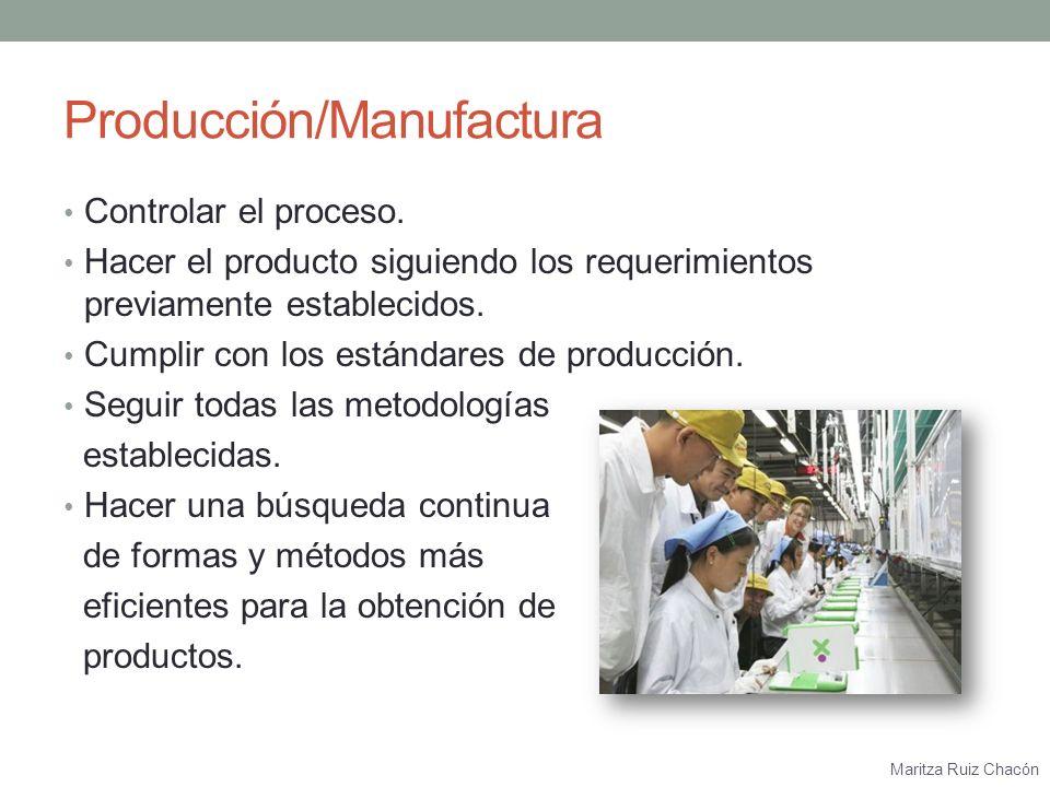 Maritza Ruiz Chacón Calidad Asegurarse de que el producto cumpla con los requisitos previamente establecidos.