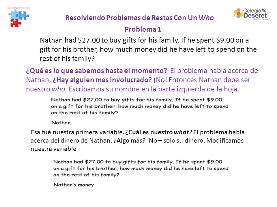Resolviendo Problemas de Restas Con Un Who Problema 1 Nathan had $27.00 to buy gifts for his family.