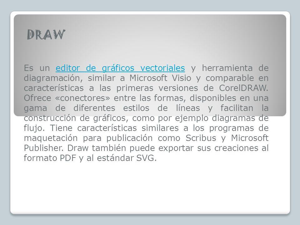 DRAW Es un editor de gráficos vectoriales y herramienta de diagramación, similar a Microsoft Visio y comparable en características a las primeras versiones de CorelDRAW.