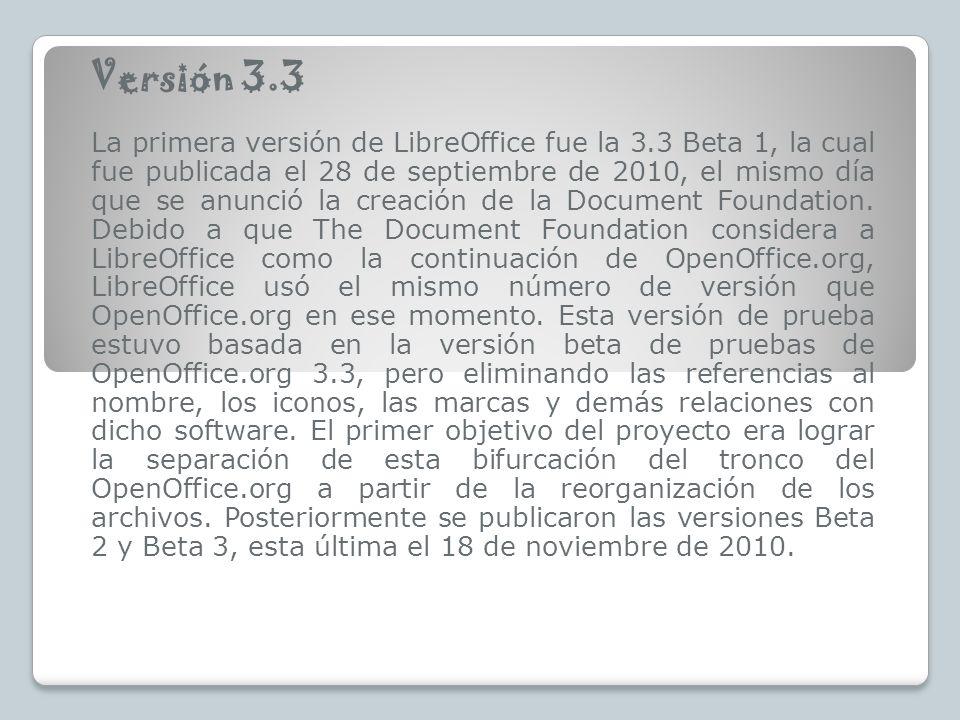 Versión 3.3 La primera versión de LibreOffice fue la 3.3 Beta 1, la cual fue publicada el 28 de septiembre de 2010, el mismo día que se anunció la creación de la Document Foundation.