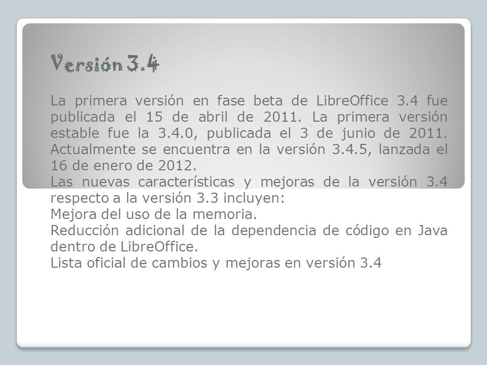 Versión 3.4 La primera versión en fase beta de LibreOffice 3.4 fue publicada el 15 de abril de 2011. La primera versión estable fue la 3.4.0, publicad