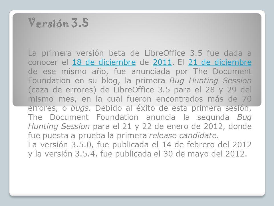 Versión 3.5 La primera versión beta de LibreOffice 3.5 fue dada a conocer el 18 de diciembre de 2011. El 21 de diciembre de ese mismo año, fue anuncia