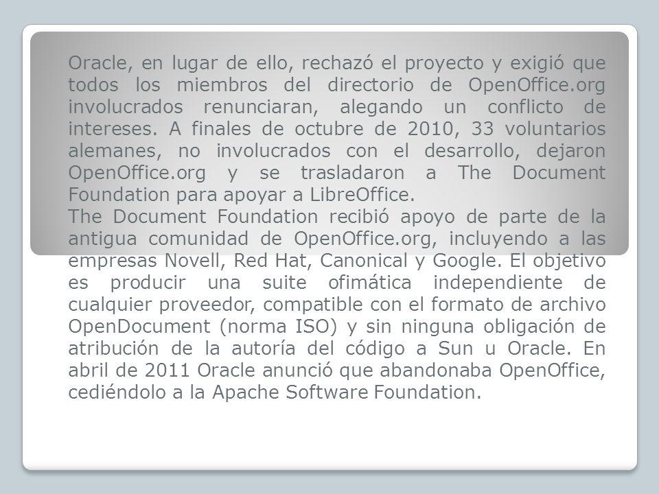 Oracle, en lugar de ello, rechazó el proyecto y exigió que todos los miembros del directorio de OpenOffice.org involucrados renunciaran, alegando un c