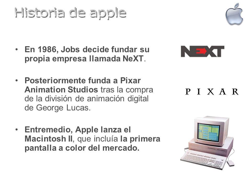 En 1986, Jobs decide fundar su propia empresa llamada NeXT. Posteriormente funda a Pixar Animation Studios tras la compra de la división de animación