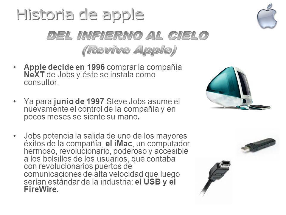 Apple decide en 1996 comprar la compañía NeXT de Jobs y éste se instala como consultor. Ya para junio de 1997 Steve Jobs asume el nuevamente el contro