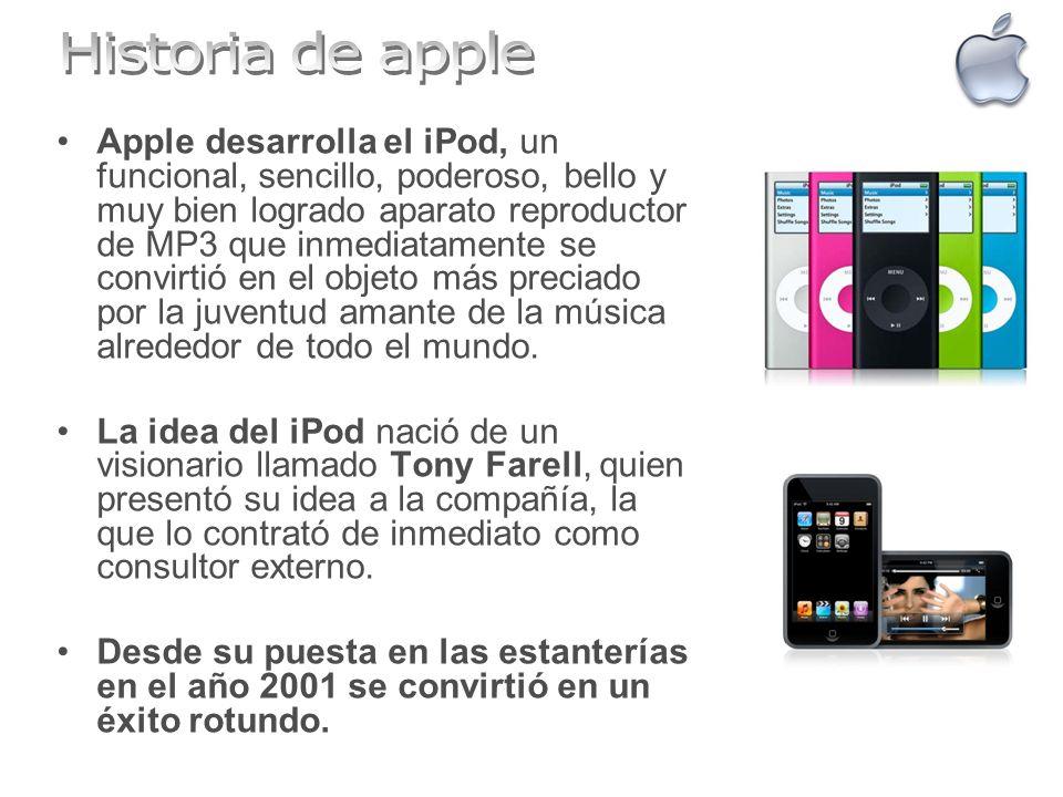 Apple desarrolla el iPod, un funcional, sencillo, poderoso, bello y muy bien logrado aparato reproductor de MP3 que inmediatamente se convirtió en el