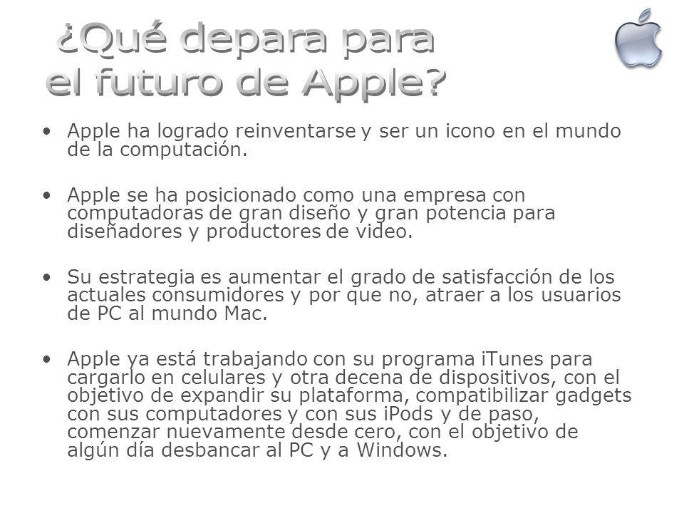 Apple ha logrado reinventarse y ser un icono en el mundo de la computación. Apple se ha posicionado como una empresa con computadoras de gran diseño y