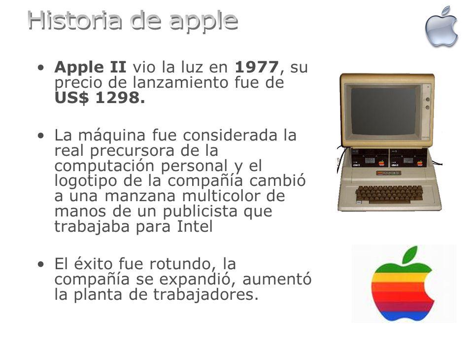 Apple II vio la luz en 1977, su precio de lanzamiento fue de US$ 1298. La máquina fue considerada la real precursora de la computación personal y el l