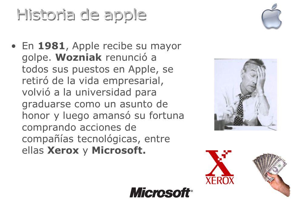 En 1981, Apple recibe su mayor golpe. Wozniak renunció a todos sus puestos en Apple, se retiró de la vida empresarial, volvió a la universidad para gr