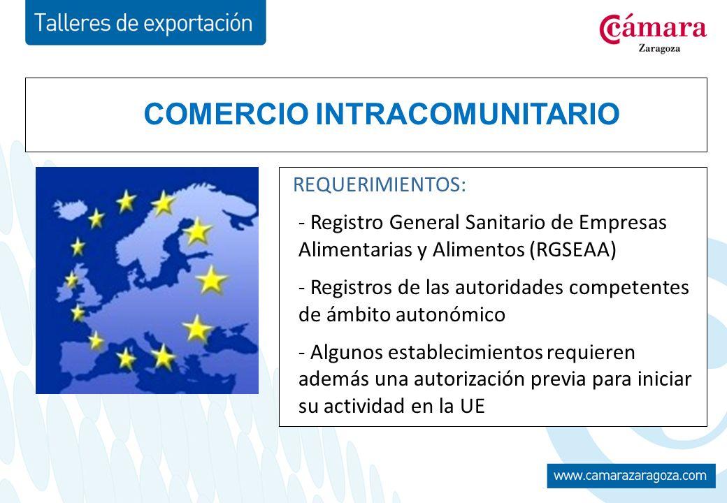 COMERCIO INTRACOMUNITARIO REQUERIMIENTOS: - Registro General Sanitario de Empresas Alimentarias y Alimentos (RGSEAA) - Registros de las autoridades competentes de ámbito autonómico - Algunos establecimientos requieren además una autorización previa para iniciar su actividad en la UE