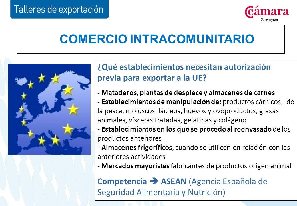 COMERCIO INTRACOMUNITARIO ¿Qué establecimientos necesitan autorización previa para exportar a la UE.