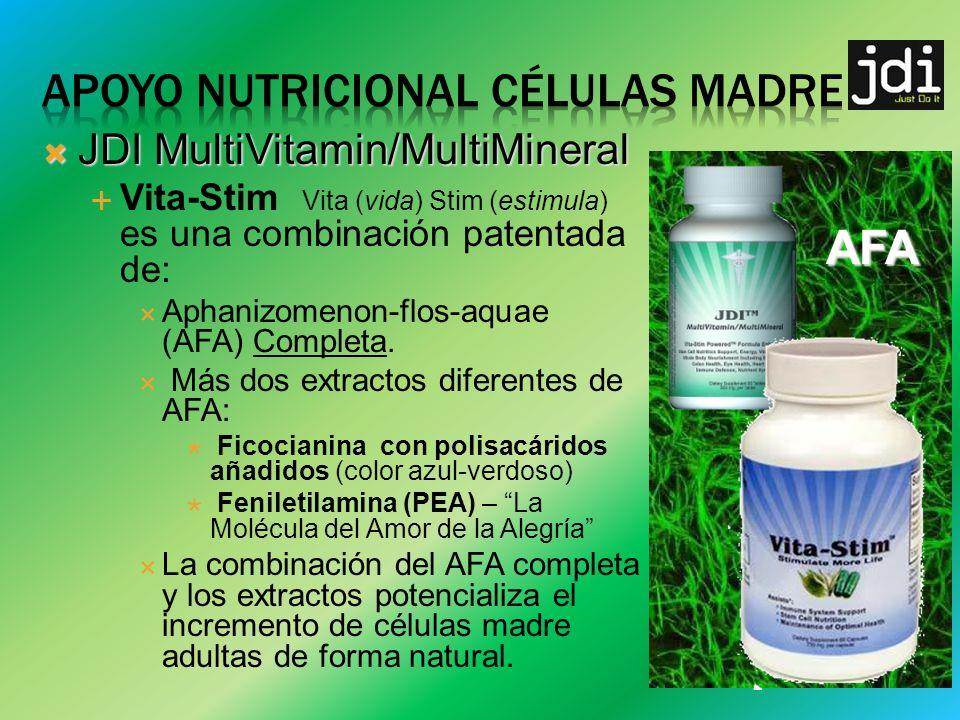 JDI MultiVitamin/MultiMineral JDI MultiVitamin/MultiMineral Vita-Stim Vita (vida) Stim (estimula) es una combinación patentada de: Aphanizomenon-flos-aquae (AFA) Completa.