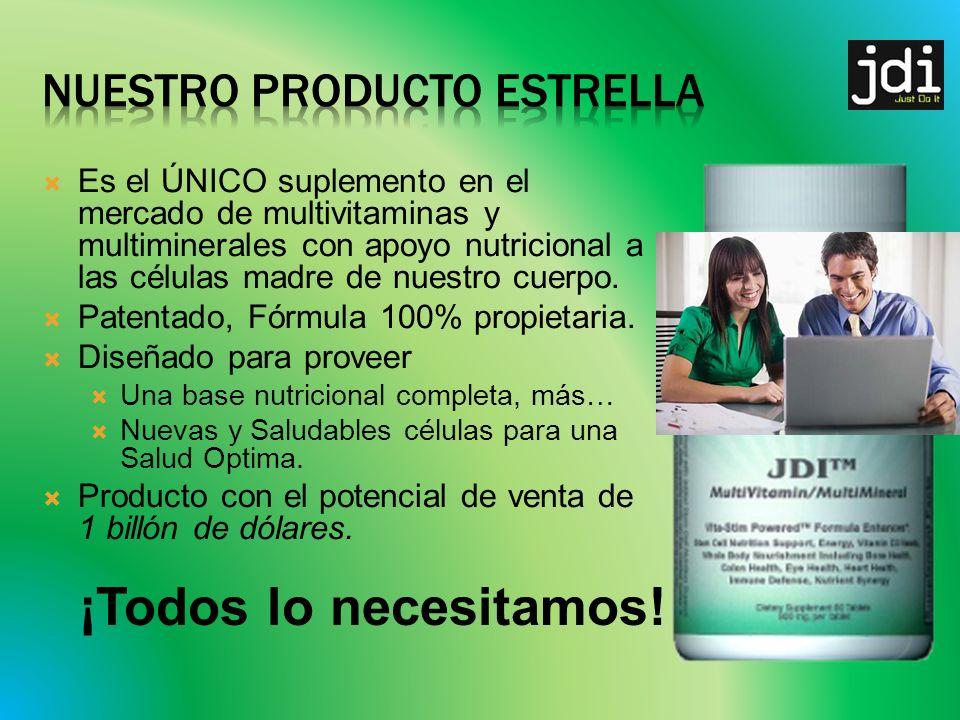 Es el ÚNICO suplemento en el mercado de multivitaminas y multiminerales con apoyo nutricional a las células madre de nuestro cuerpo.