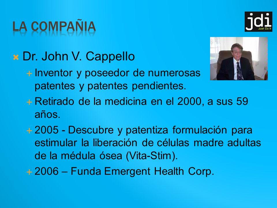 Dr.John V. Cappello Inventor y poseedor de numerosas patentes y patentes pendientes.