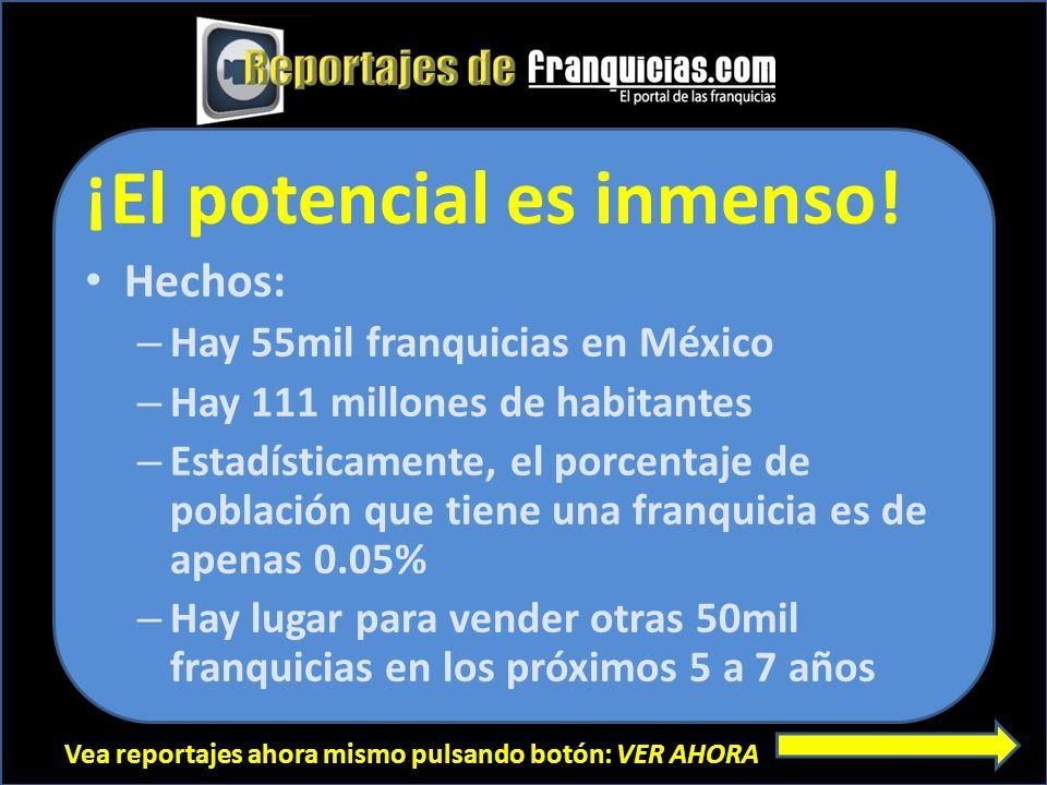 Vea reportajes ahora mismo pulsando botón: VER AHORA ¡El potencial es inmenso! Hechos: – Hay 55mil franquicias en México – Hay 111 millones de habitan