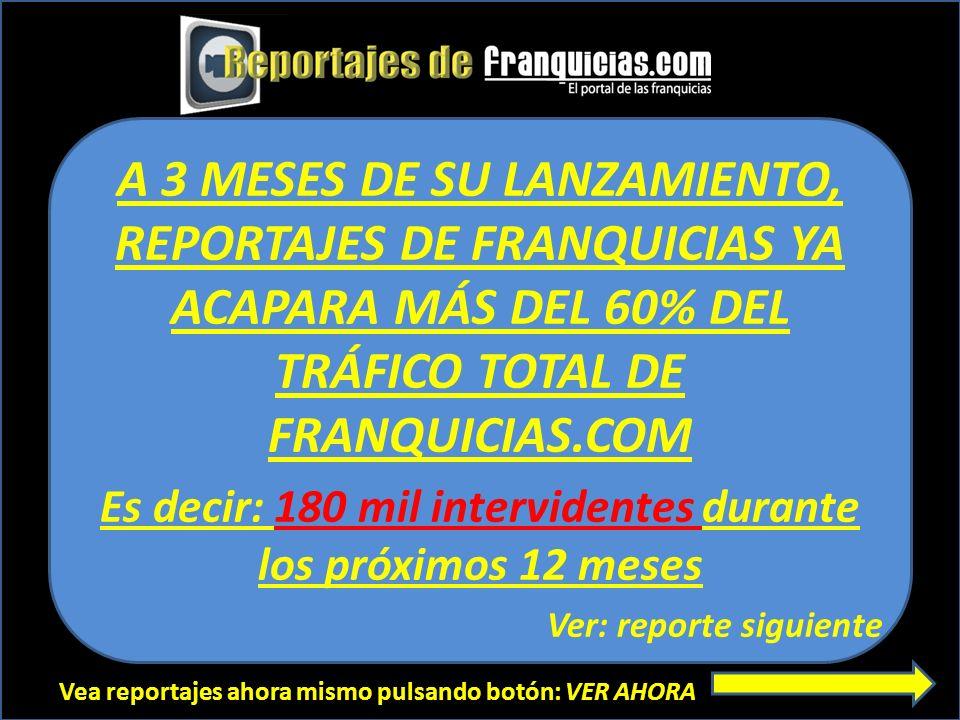 Vea reportajes ahora mismo pulsando botón: VER AHORA A 3 MESES DE SU LANZAMIENTO, REPORTAJES DE FRANQUICIAS YA ACAPARA MÁS DEL 60% DEL TRÁFICO TOTAL D
