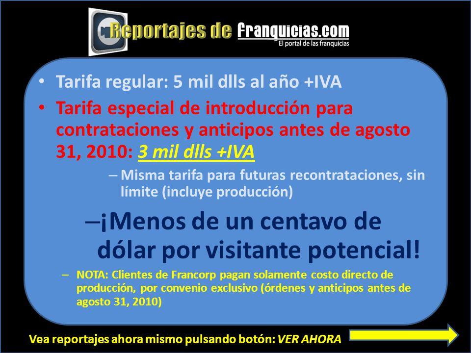 Vea reportajes ahora mismo pulsando botón: VER AHORA Tarifa regular: 5 mil dlls al año +IVA Tarifa especial de introducción para contrataciones y anti