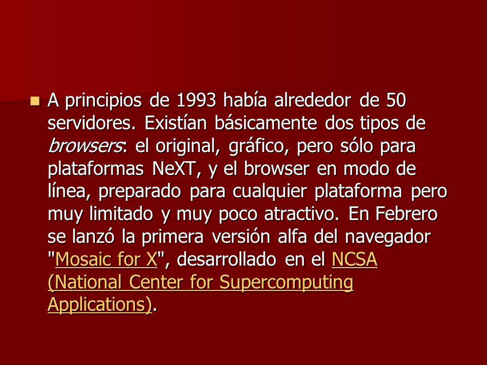 A principios de 1993 había alrededor de 50 servidores.