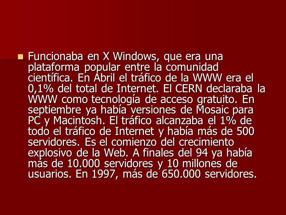 Funcionaba en X Windows, que era una plataforma popular entre la comunidad científica.