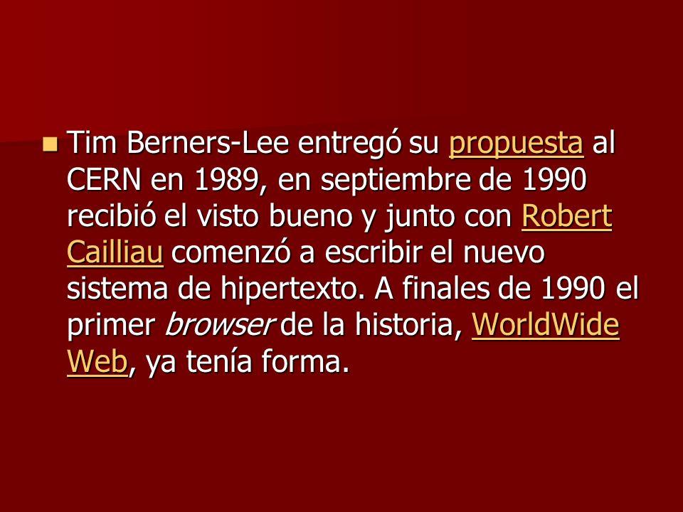 Tim Berners-Lee entregó su propuesta al CERN en 1989, en septiembre de 1990 recibió el visto bueno y junto con Robert Cailliau comenzó a escribir el nuevo sistema de hipertexto.