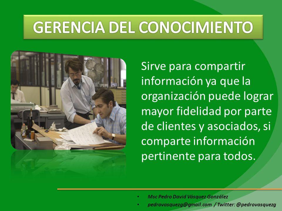 Msc Pedro David Vásquez González pedrovasquezg@gmail.com / Twitter: @pedrovasquezg Sirve para compartir información ya que la organización puede logra