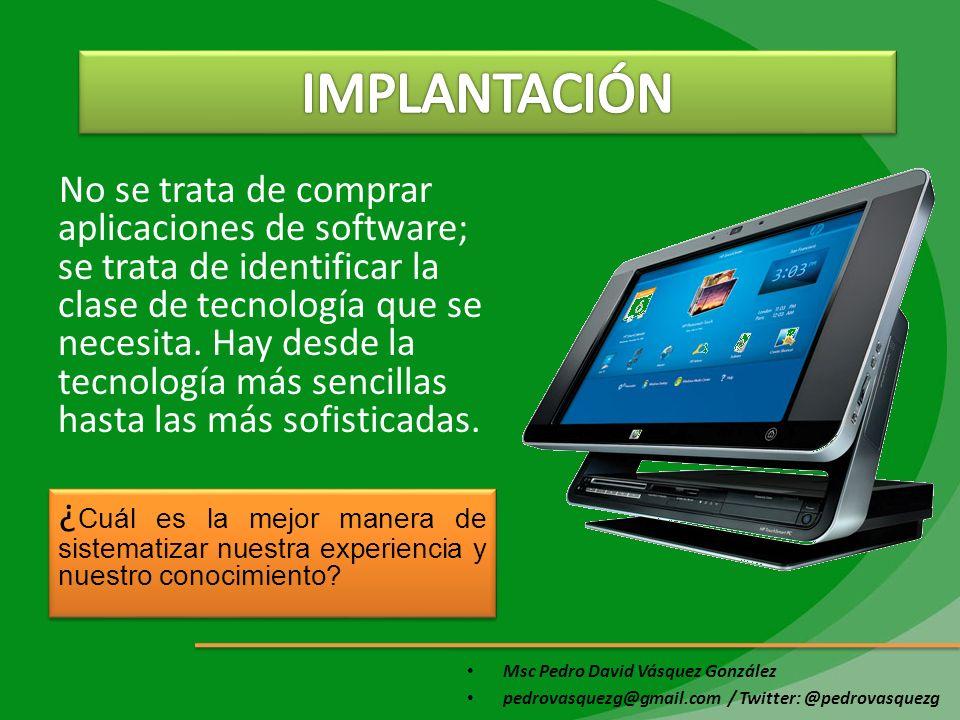 Msc Pedro David Vásquez González pedrovasquezg@gmail.com / Twitter: @pedrovasquezg No se trata de comprar aplicaciones de software; se trata de identi
