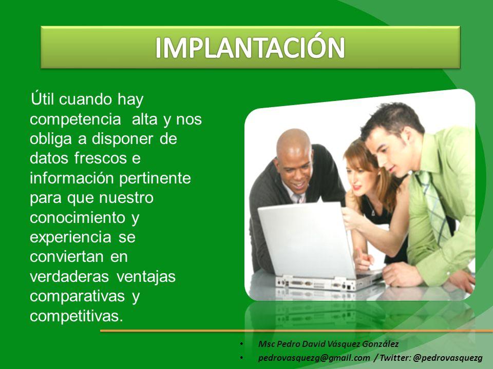 Msc Pedro David Vásquez González pedrovasquezg@gmail.com / Twitter: @pedrovasquezg Útil cuando hay competencia alta y nos obliga a disponer de datos f