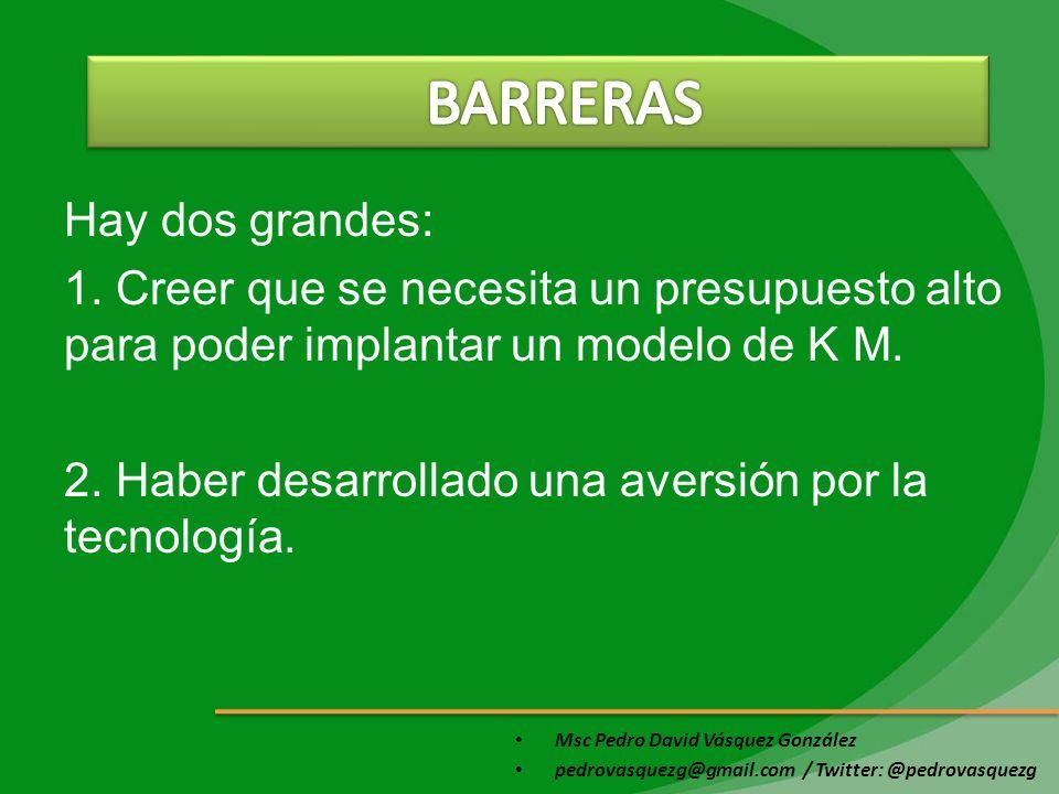 Msc Pedro David Vásquez González pedrovasquezg@gmail.com / Twitter: @pedrovasquezg Hay dos grandes: 1. Creer que se necesita un presupuesto alto para