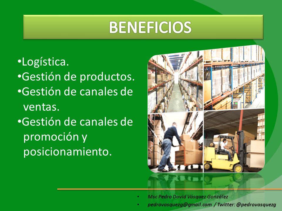 Msc Pedro David Vásquez González pedrovasquezg@gmail.com / Twitter: @pedrovasquezg Logística. Gestión de productos. Gestión de canales de ventas. Gest
