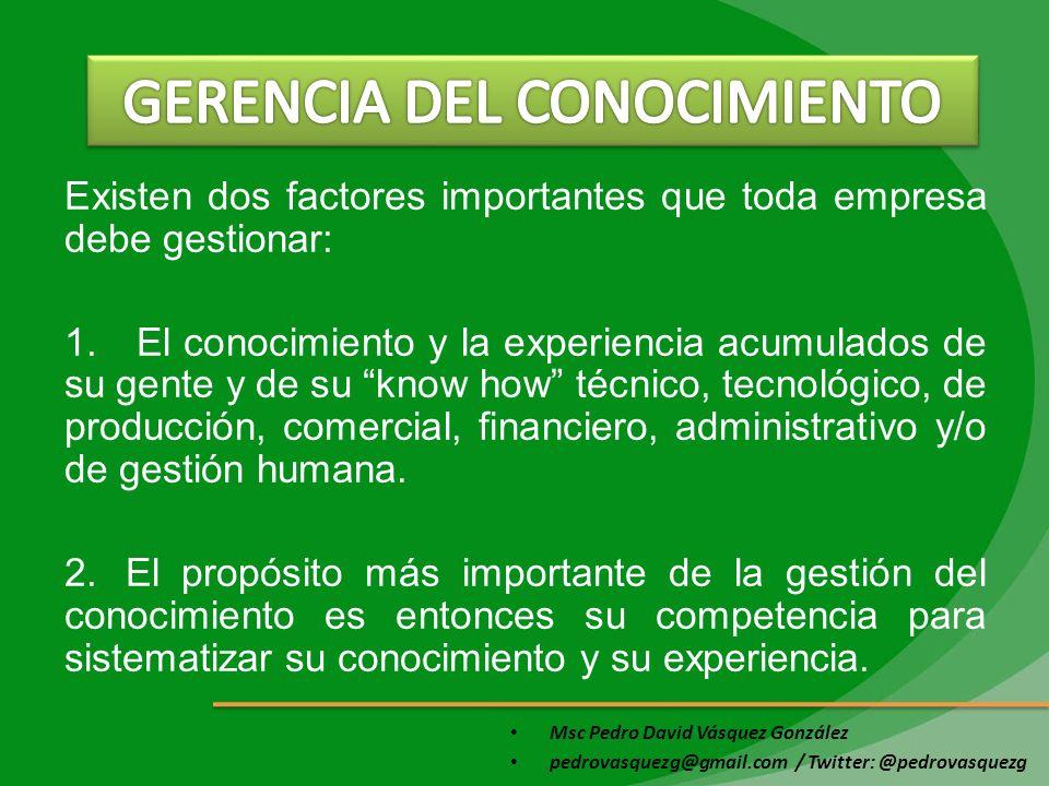 Msc Pedro David Vásquez González pedrovasquezg@gmail.com / Twitter: @pedrovasquezg Existen dos factores importantes que toda empresa debe gestionar: 1