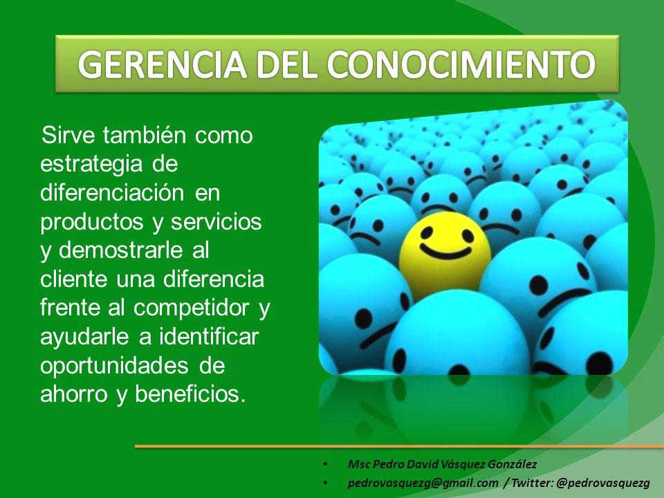 Msc Pedro David Vásquez González pedrovasquezg@gmail.com / Twitter: @pedrovasquezg Promueve el empoderamiento a la fuerza de ventas ya que se pueden obtener mejores resultados mediante el análisis de patrones de comportamiento