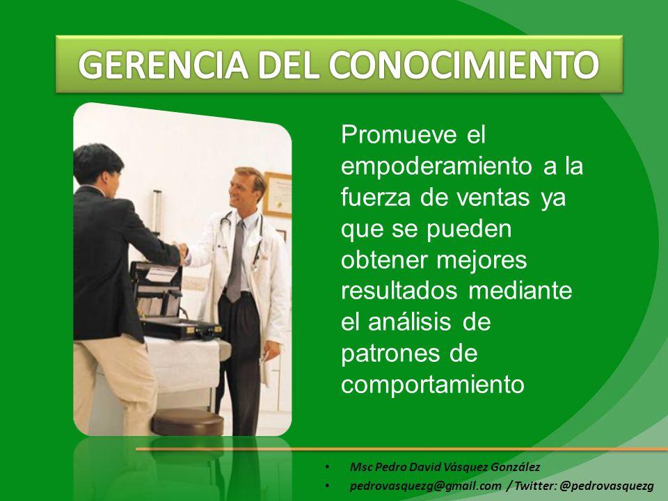 Msc Pedro David Vásquez González pedrovasquezg@gmail.com / Twitter: @pedrovasquezg Promueve el empoderamiento a la fuerza de ventas ya que se pueden o