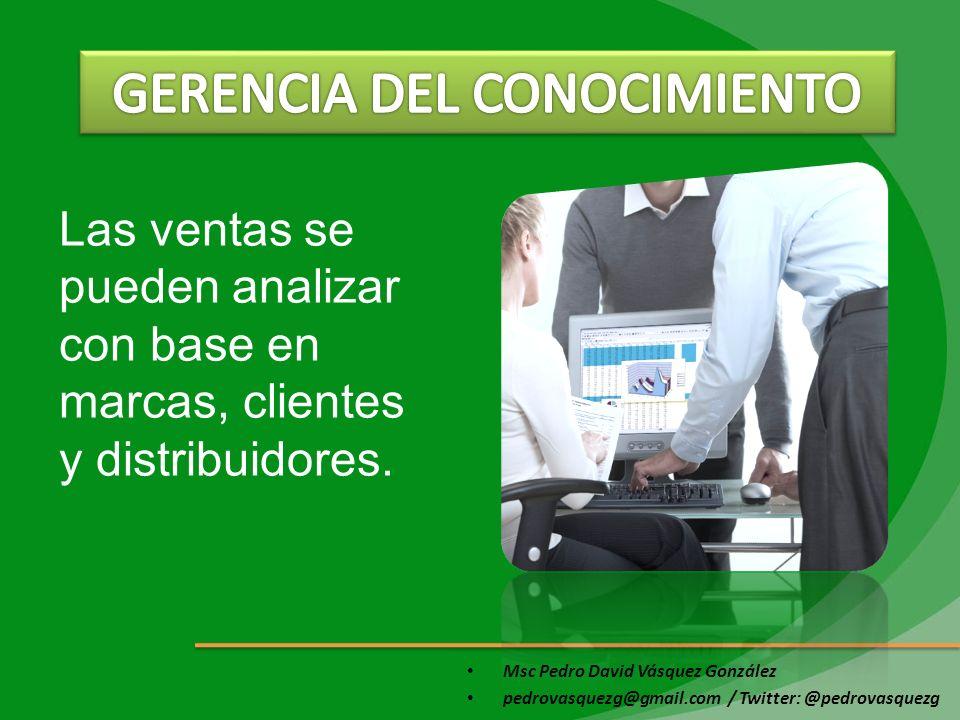 Msc Pedro David Vásquez González pedrovasquezg@gmail.com / Twitter: @pedrovasquezg Las ventas se pueden analizar con base en marcas, clientes y distri