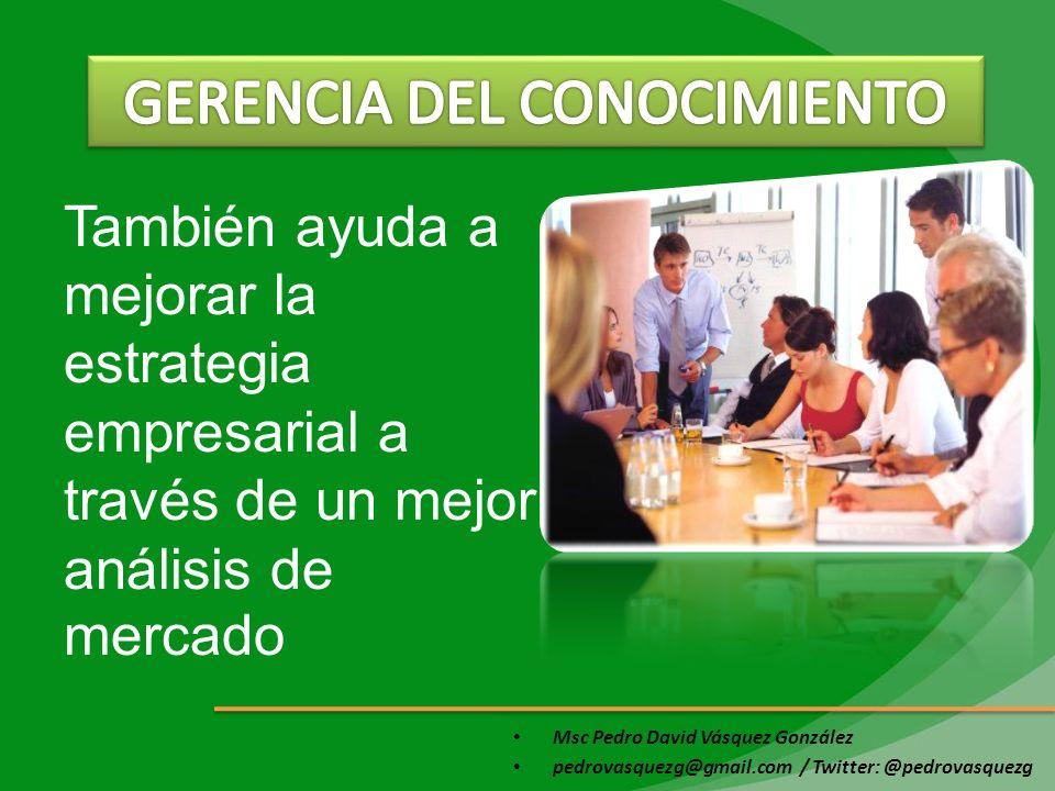 Msc Pedro David Vásquez González pedrovasquezg@gmail.com / Twitter: @pedrovasquezg También ayuda a mejorar la estrategia empresarial a través de un me