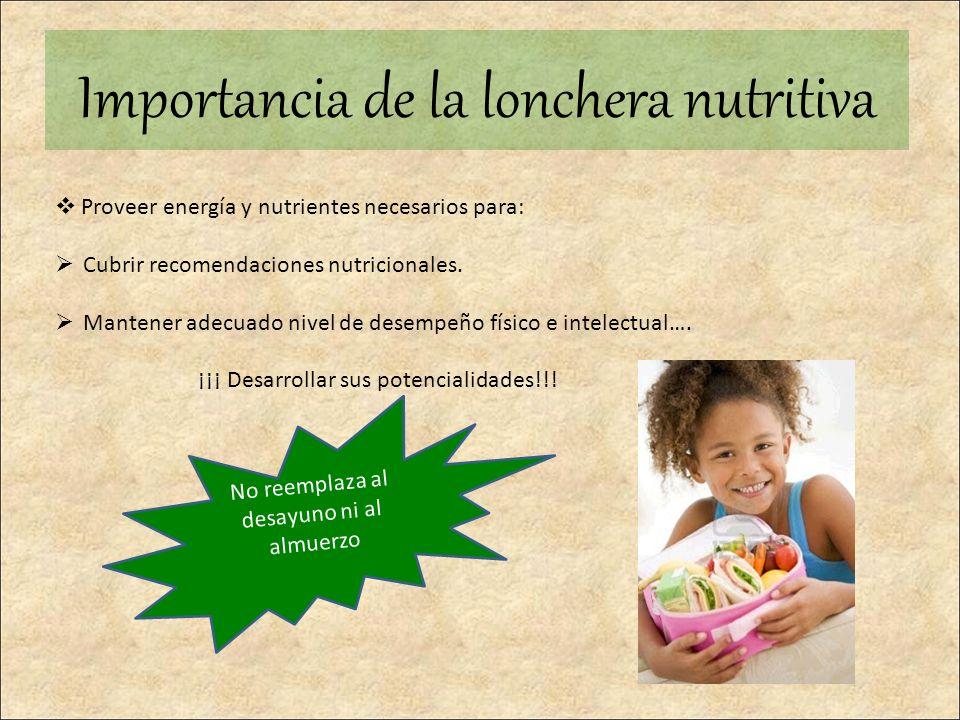 Proveer energía y nutrientes necesarios para: Cubrir recomendaciones nutricionales. Mantener adecuado nivel de desempeño físico e intelectual…. ¡¡¡ De